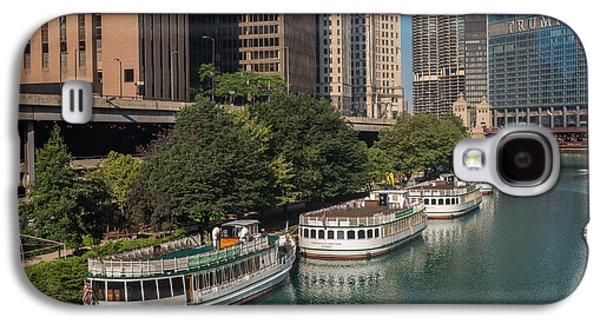 Chicago River Galaxy S4 Cases - Chicago River Tour Boats Galaxy S4 Case by Steve Gadomski