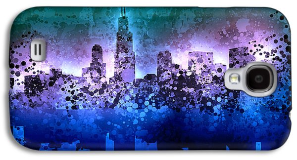 Illinois Print Digital Art Galaxy S4 Cases - Chicago Skyline Abstract 2 Galaxy S4 Case by MB Art factory