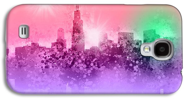Illinois Print Digital Art Galaxy S4 Cases - Chicago Skyline Abstract 3 Galaxy S4 Case by MB Art factory