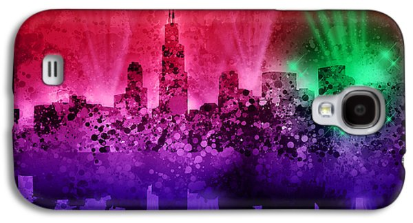 Illinois Print Digital Art Galaxy S4 Cases - Chicago Skyline Abstract 4 Galaxy S4 Case by MB Art factory