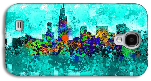 Illinois Print Digital Art Galaxy S4 Cases - Chicago Skyline Abstract Galaxy S4 Case by MB Art factory