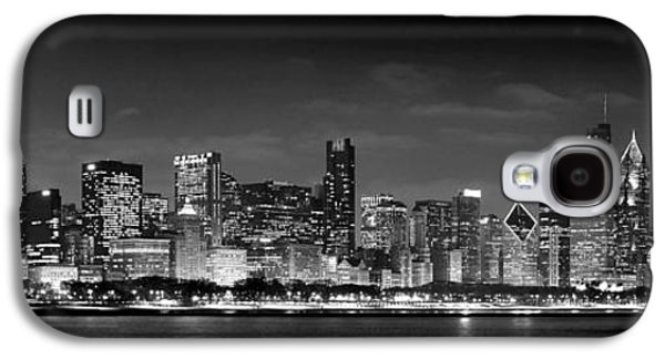 City Scene Galaxy S4 Cases - Chicago Skyline at NIGHT black and white Galaxy S4 Case by Jon Holiday