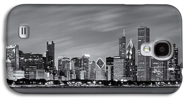 United Photographs Galaxy S4 Cases - Chicago Skyline at Night Black and White Panoramic Galaxy S4 Case by Adam Romanowicz