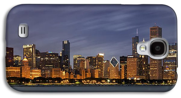 Light Photographs Galaxy S4 Cases - Chicago Skyline at Night Color Panoramic Galaxy S4 Case by Adam Romanowicz