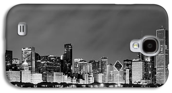 Man Galaxy S4 Cases - Chicago Skyline at Night in Black and White Galaxy S4 Case by Sebastian Musial