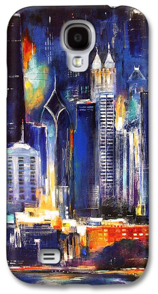 Recently Sold -  - Sunset Abstract Galaxy S4 Cases - Chicago Skyline at Night Galaxy S4 Case by Kathleen Patrick