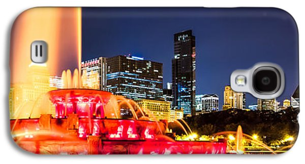 Landmarks Photographs Galaxy S4 Cases - Chicago Skyline at Night Panorama Photo Galaxy S4 Case by Paul Velgos