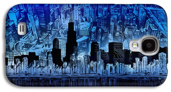 Illinois Print Digital Art Galaxy S4 Cases - Chicago Skyline Blue Version Galaxy S4 Case by MB Art factory