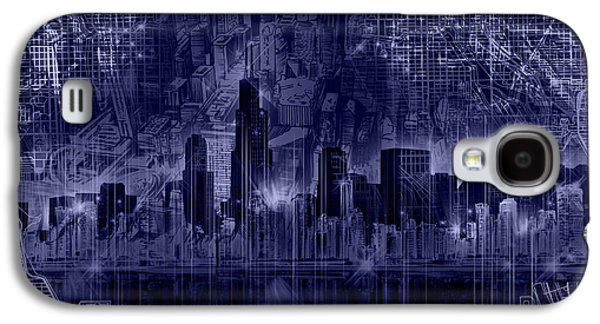 Illinois Print Digital Art Galaxy S4 Cases - Chicago Skyline Blueprint Galaxy S4 Case by MB Art factory