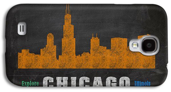 Skylines Mixed Media Galaxy S4 Cases - Chicago Skyline Chalkboard Chalk Art Galaxy S4 Case by Design Turnpike
