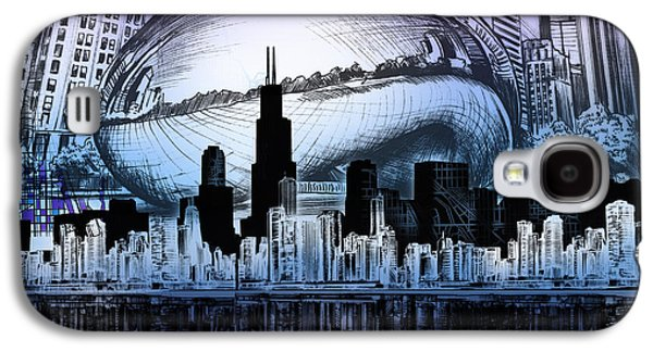Illinois Print Digital Art Galaxy S4 Cases - Chicago Skyline Drawing Collage 2 Galaxy S4 Case by MB Art factory