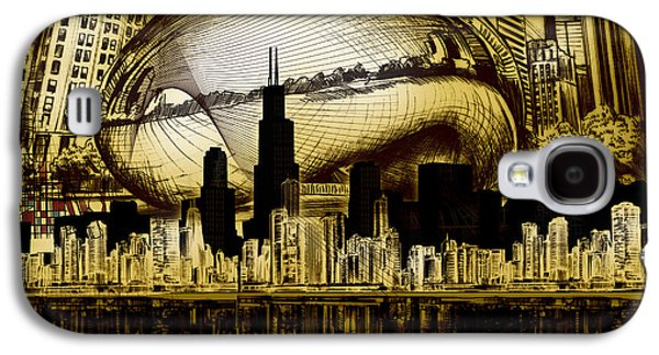 Illinois Print Digital Art Galaxy S4 Cases - Chicago Skyline Drawing Collage 3 Galaxy S4 Case by MB Art factory
