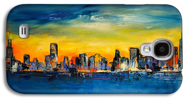 Recently Sold -  - Sunset Abstract Galaxy S4 Cases - Chicago Skyline Galaxy S4 Case by Elise Palmigiani