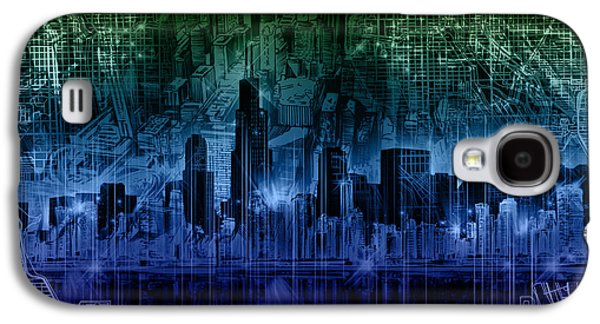 Illinois Print Digital Art Galaxy S4 Cases - Chicago Skyline Gradient Version Galaxy S4 Case by MB Art factory