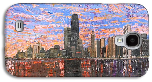 Skylines Paintings Galaxy S4 Cases - Chicago Skyline - Lake Michigan Galaxy S4 Case by Mike Rabe