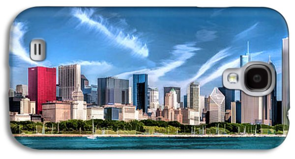 Skylines Paintings Galaxy S4 Cases - Chicago Skyline Panorama Galaxy S4 Case by Christopher Arndt