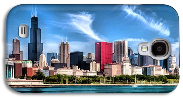 Chicago Paintings Galaxy S4 Cases - Chicago Skyline Panorama Galaxy S4 Case by Christopher Arndt