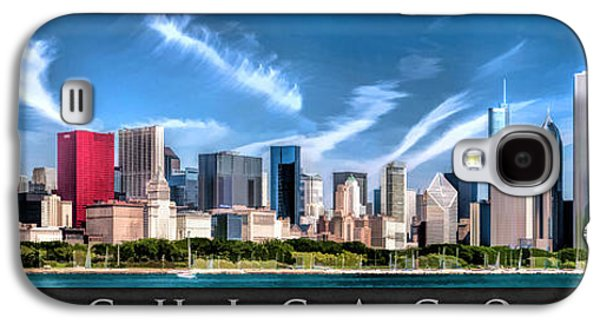 Skylines Paintings Galaxy S4 Cases - Chicago Skyline Panorama Poster Galaxy S4 Case by Christopher Arndt