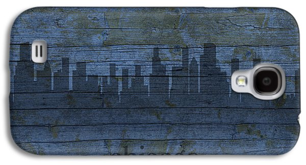 Skylines Mixed Media Galaxy S4 Cases - Chicago Skyline Silhouette Distressed on Worn Peeling Wood Galaxy S4 Case by Design Turnpike