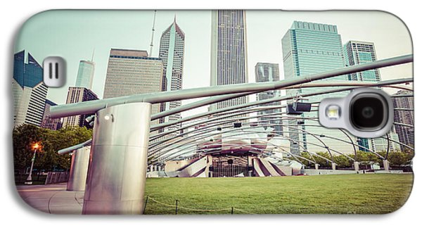 Stone Buildings Galaxy S4 Cases - Chicago Skyline with Pritzker Pavilion Vintage Picture Galaxy S4 Case by Paul Velgos