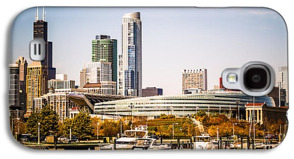 Color Image Galaxy S4 Cases - Chicago Skyline with Soldier Field Galaxy S4 Case by Paul Velgos