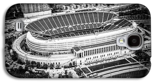 Sports Photographs Galaxy S4 Cases - Chicago Soldier Field Aerial Picture in Black and White Galaxy S4 Case by Paul Velgos