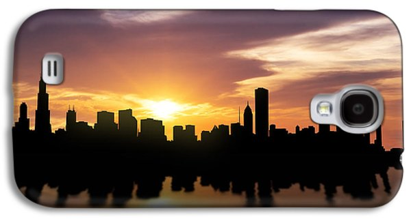 Skylines Mixed Media Galaxy S4 Cases - Chicago Sunset Skyline  Galaxy S4 Case by Aged Pixel