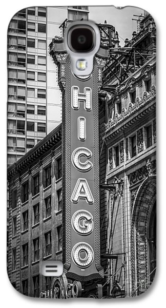 Landmarks Photographs Galaxy S4 Cases - Chicago Theater Sign in Black and White Galaxy S4 Case by Paul Velgos