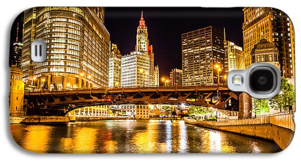 Chicago Wabash Avenue Bridge At Night Picture Galaxy S4 Case by Paul Velgos