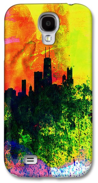 Architectural Digital Art Galaxy S4 Cases - Chicago Watercolor Skyline Galaxy S4 Case by Naxart Studio