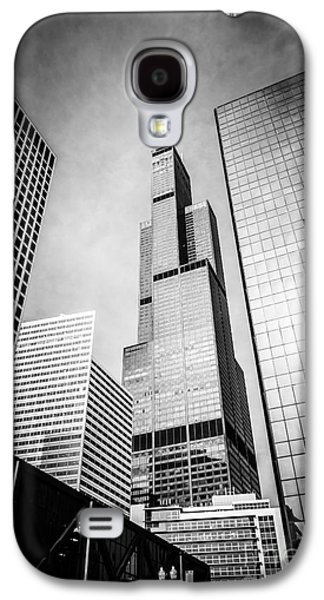 Chicago Galaxy S4 Cases - Chicago Willis-Sears Tower in Black and White Galaxy S4 Case by Paul Velgos