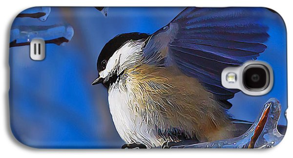 Photo Manipulation Photographs Galaxy S4 Cases - Chickadee Shakes Off the Cold Galaxy S4 Case by Bill Caldwell -        ABeautifulSky Photography