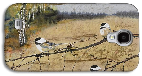 Animals Tapestries - Textiles Galaxy S4 Cases - Chickadees and a row of Birch Trees Galaxy S4 Case by Carolyn Doe