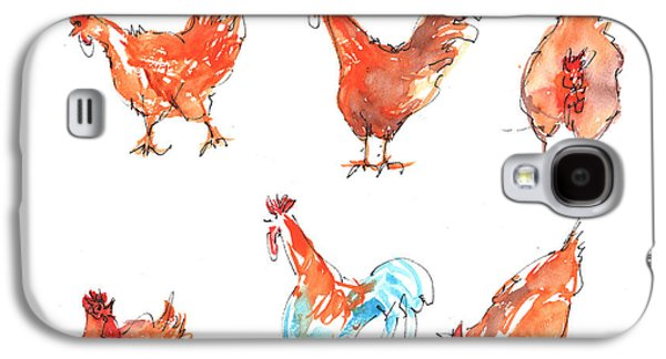 Barn Yard Galaxy S4 Cases - Chicken Pen Galaxy S4 Case by Kathleen McElwaine
