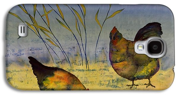 Animals Tapestries - Textiles Galaxy S4 Cases - Chickens On Silk Galaxy S4 Case by Carolyn Doe
