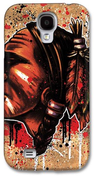 Hockey Mixed Media Galaxy S4 Cases - ChiHawk Galaxy S4 Case by Michael Figueroa