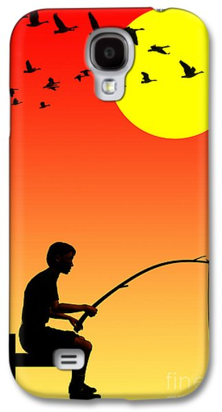 Nostalgia Digital Art Galaxy S4 Cases - Childhood dreams 3 Fishing Galaxy S4 Case by John Edwards