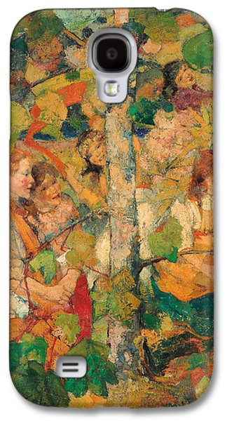 Change Paintings Galaxy S4 Cases - Children Dancing Around a Tree Galaxy S4 Case by Edward Atkinson Hornel