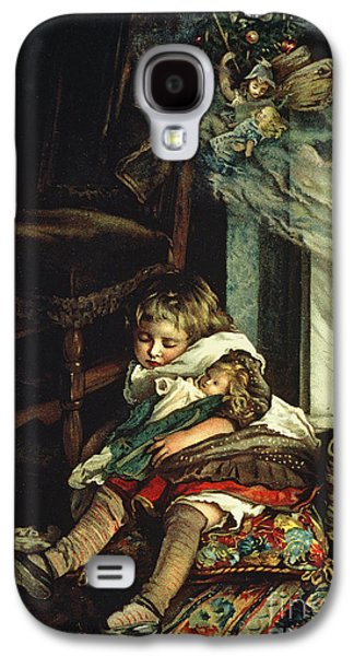 Winter Fun Paintings Galaxy S4 Cases - Children Dreaming of Toys Galaxy S4 Case by Lizzie Mack