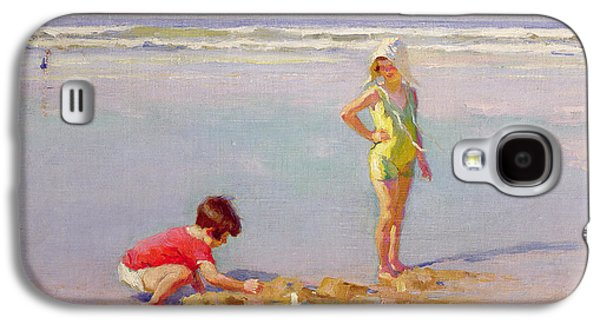 Sand Castles Paintings Galaxy S4 Cases - Children on the Beach Galaxy S4 Case by Charles-Garabed Atamian