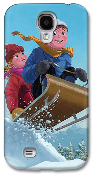 Kids Sports Art Galaxy S4 Cases - Children Snow Sleigh Ride Galaxy S4 Case by Martin Davey