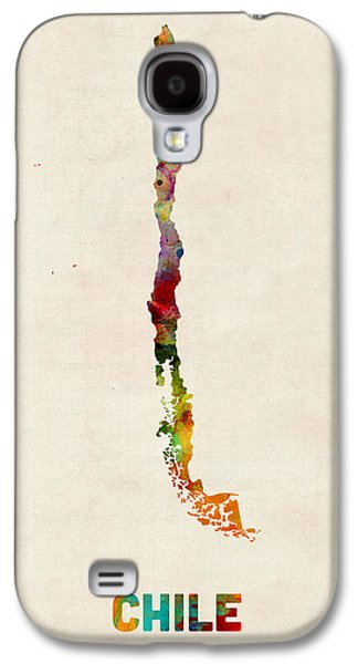 Map Galaxy S4 Cases - Chile Watercolor Map Galaxy S4 Case by Michael Tompsett