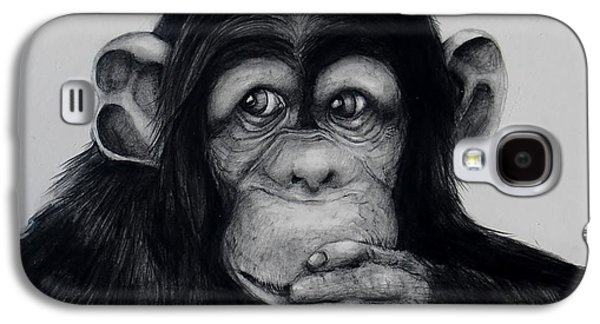 Contemplative Drawings Galaxy S4 Cases - Chimp Galaxy S4 Case by Jean Cormier