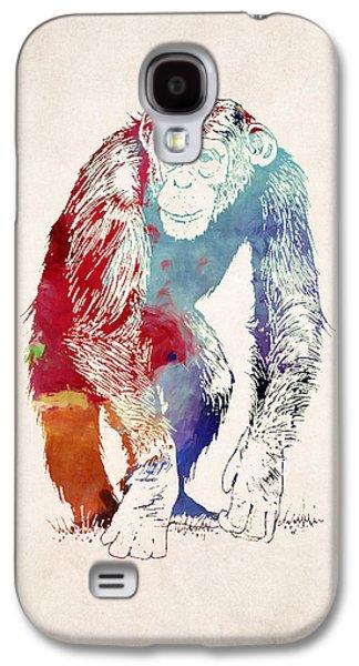 Ape Digital Art Galaxy S4 Cases - Chimpanzee Drawing - Design Galaxy S4 Case by World Art Prints And Designs