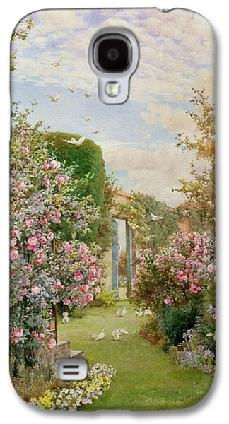 Perspective Paintings Galaxy S4 Cases - China Roses Galaxy S4 Case by Alfred Parsons