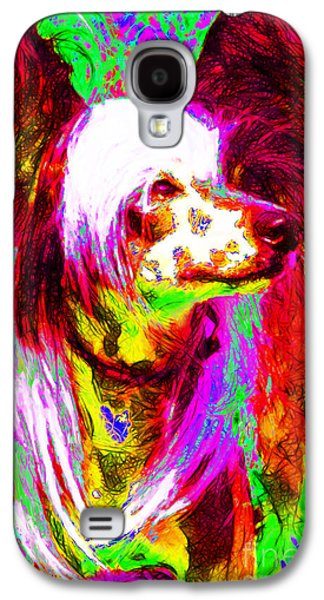 Puppy Digital Art Galaxy S4 Cases - Chinese Crested Dog 20130125v2 Galaxy S4 Case by Wingsdomain Art and Photography