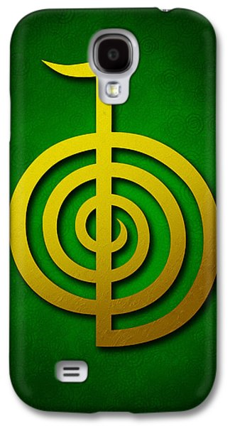 Inner Self Galaxy S4 Cases - Cho Ku Rei - golden yellow on green Reiki Usui symbol Galaxy S4 Case by Cristina-Velina Ion