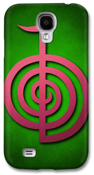 Inner Self Galaxy S4 Cases - Cho Ku Rei - pink on green Reiki Usui symbol Galaxy S4 Case by Cristina-Velina Ion