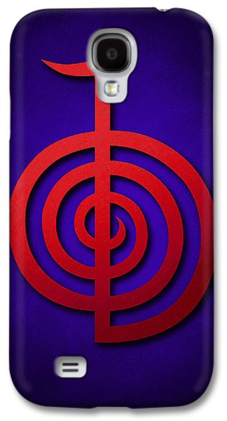 Inner Self Galaxy S4 Cases - Cho Ku Rei - red on blue Reiki Usui symbol Galaxy S4 Case by Cristina-Velina Ion