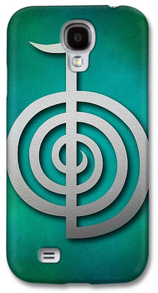 Inner Self Galaxy S4 Cases - Cho Ku Rei - silver on blue and green Reiki Usui symbol Galaxy S4 Case by Cristina-Velina Ion